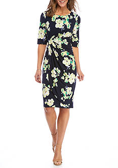 Connected Apparel Printed Jersey Wrap Dress