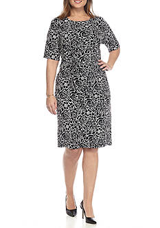 Connected Apparel Plus Size Printed Jersey Wrap Dress
