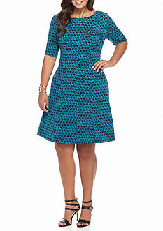 Connected Apparel Plus Size Printed A-line Dress