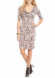 Connected Apparel Printed Jersey Sheath Dress