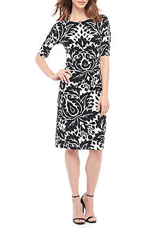 Connected Apparel Floral Printed Side Ruched Jersey Dress