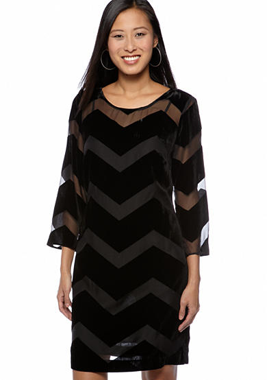 Black Velvet Burnout Zig Zag Shift dress