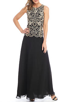 JKARA Beaded Bodice Gown