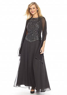 JKARA Mock Two-Piece Gown with Matching Scarf