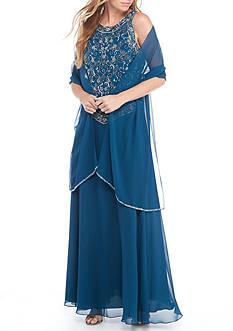 JKARA Beaded Mock Long Gown