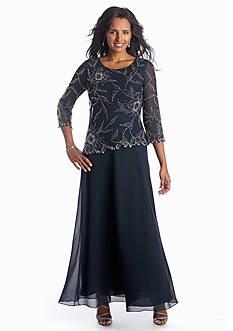 JKARA Mock Two-Piece Beaded Gown