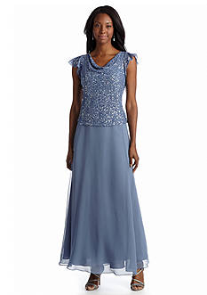 JKARA Sequined Mock Two-Piece Gown