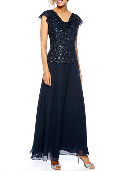 JKARA Flutter Sleeved Cowl Neck Beaded and Sequins Gown