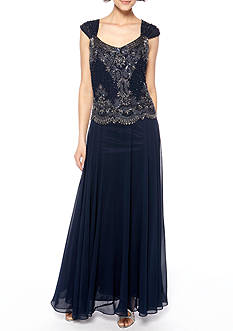 JKARA Sleeveless Gown with Beaded Bodice