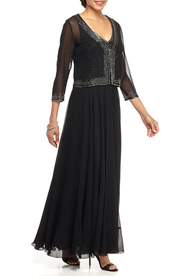 JKARA Bead Embellished Gown with Jacket