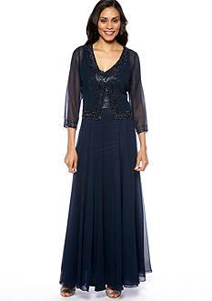JKARA Three-Quarter Sleeved Jacket Dress with Beads