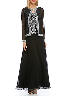 JKARA Beaded Chiffon Jacket Overlay Gown