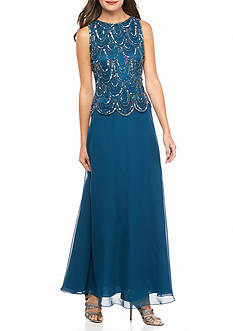 JKARA Bead and Sequin Bodice Mock Two-Piece Gown