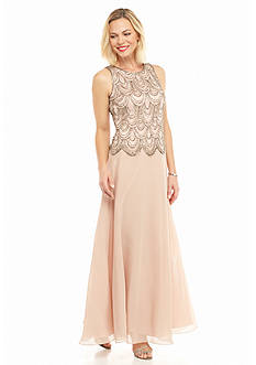 JKARA Bead and Sequin Bodice Popover Gown