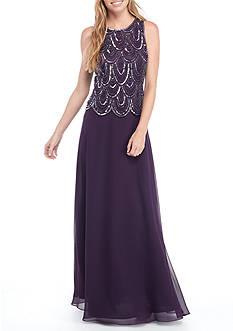 JKARA Long Beaded Gown