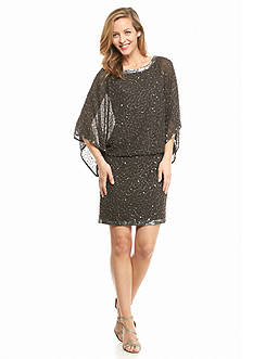 JKARA Blouson Beaded Cocktail Dress
