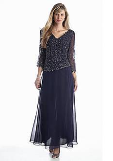 JKARA Beaded Mock Two-Piece Gown