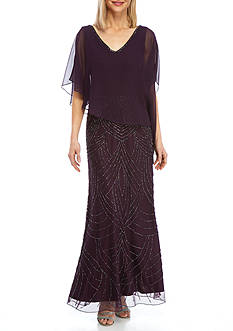 JKARA Beaded Asymmetrical Popover Gown
