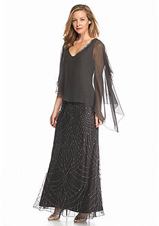 JKARA Beaded Gown with Sheer Capelet