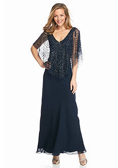 JKARA Gown with Sheer Beaded Capelet