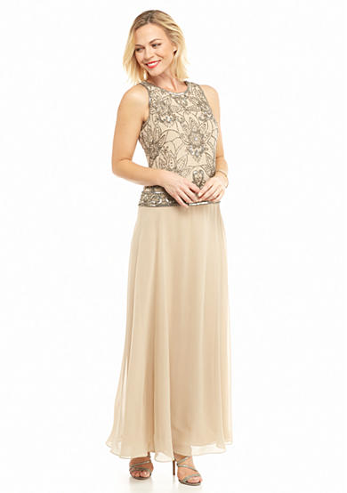 JKARA Bead and Sequin Popover Gown