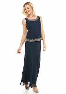 JKARA Bead Embellished Popover Gown