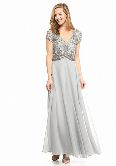 JKARA Bead and Sequin Bodice Gown