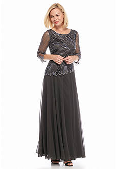 JKARA Bead and Sequin Mock Two-Piece Gown