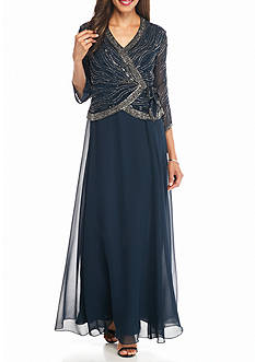 JKARA Mock Two-Piece Bead Embellished Faux Wrap Gown