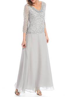 JKARA Drape Neck Sequins Bodice Gown