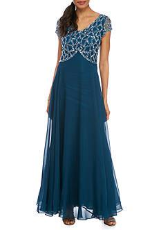 JKARA Long Empire Waisted Beaded Gown