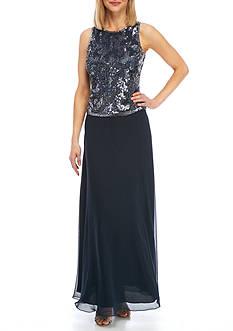 JKARA Beaded Popover Gown