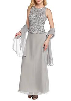 JKARA Beaded Chiffon Gown