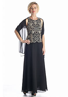 JKARA Mock Two-Piece Beaded Gown with Scarf