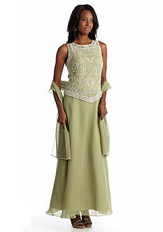 JKARA Sleeveless Beaded Bodice Gown With Matching Scarf