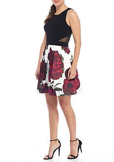 Xscape Floral Printed Fit and Flare Cocktail Dress