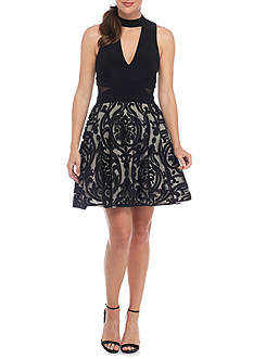 Xscape Embroidered Mesh Cocktail Dress