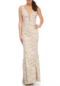 Xscape Long Mesh Lace Gown