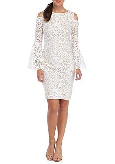 Xscape Cold Shoulder Lace Sheath Cocktail Dress