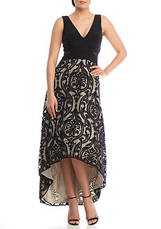 Xscape High Low Embroidered Dress