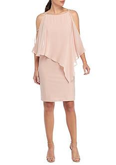 Xscape Cold-Shoulder Embellished Strap Cocktail Dress