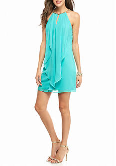 Xscape Chain Neck Ruffle Front Dress