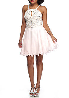 Xscape Beaded Bodice Halter Dress