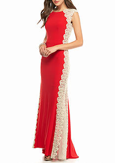 Xscape Lace Side Panel Jersey Gown