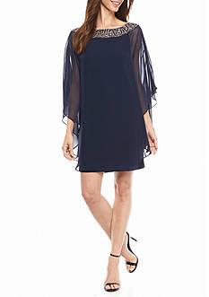 Xscape Bead Embellished Capelet Overlay Dress