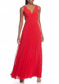 Xscape Pleated Chiffon Gown with Side Cutouts