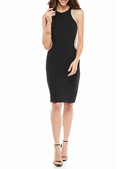 Xscape Illusion Mesh Cutout Sides with Beading Sheath Dress