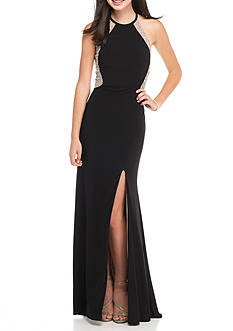 Xscape Bead and Mesh Halter Gown