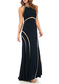 Xscape Open Back Jersey Halter Gown