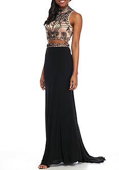 Xscape Two-Piece Bead Embellished Gown